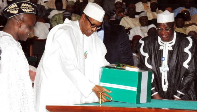 Buhari at the presentation of the 2016 to the National Asembly