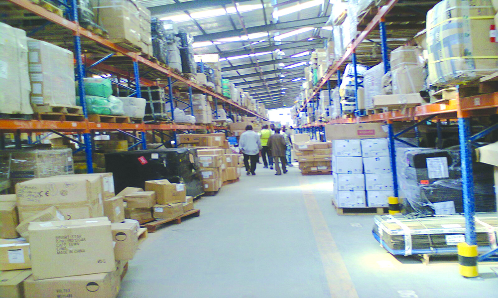 NAHCO Warehouse - cargo waiting to be cleared in Lagos