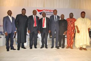 L-R Adams Oshiomhole, former Governor, Edo State, Panelist; Dr. Kayode Fayemi, Minister of Mines and Steel Development, Panelist; Prof. Charles Soludo, former Governor, CBN, Keynote Speaker; Mr. Muda Yusuf, Director General, LCCI, Panelist; Mr. Bismarck Rewane, MD, Financial Derivatives Company Ltd, Panelist; Dr. Alex Otti, former GMD, Diamond Bank, Panelist; Mr. Issa Aremu, General Secretary, NUTGTWN, Panelist; and Dr. Obadiah Mailafia, former Deputy Governor, CBN, Panelist at Vanguard Economic Discourse held in Lagos