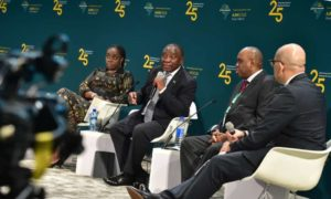 President Cyril Ramaphosa of South Africa (2nd left) presenting his address. He is flanked to his left by Dr Benedict Oramah, President of Afreximbank and to his right by Mrs Kemi Adeosun, Nigeria's Minister of Finance
