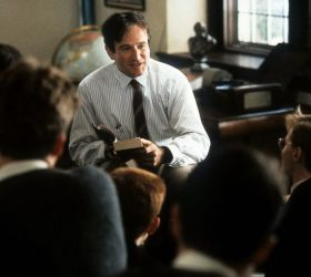 """Robin Williams as John Keating in """"Dead Poets Society,"""" 1989 / image courtesy Getty Images"""