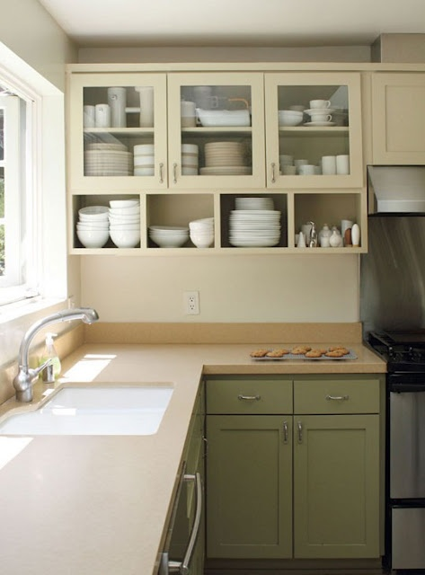 Pesto Green Kitchen Cabinets
