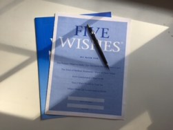 Picture of the caregiver resource - 5 wishes. Healthcare directive paperwork.
