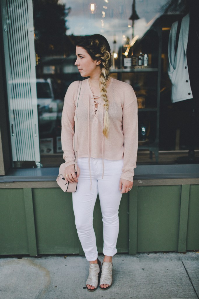 Brunette the label lace up sweater