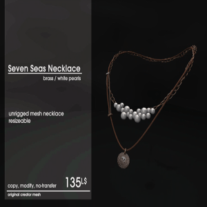 22769 ~ [accessories] Seven Seas Necklace Brass_White Pearls [