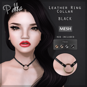 pekka leather ring collar black