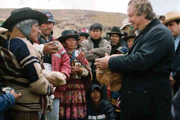 Mr. Pier Luigi Loro Piana meets with locals in Peru, home to Vicuña