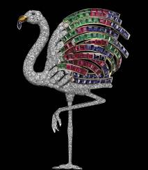 Flamingo brooch, Cartier Paris, 1940 Platinum, gold, brilliant-cut diamonds, square-cut rubies, emeralds and sapphires, sapphire cabochons, one citrine