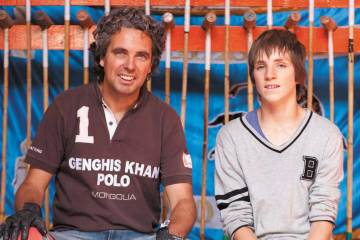Raphael le Masne de Chermont and son at the Genghis Khan polo club