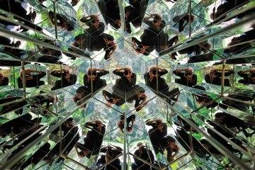 A photographer capturing Adriana Varejão's sculpture at The Inhotim Centre of Contemporarty Art in Brazil
