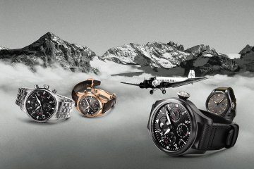 FAR LEFT: Pilot's Watch Chronograph LEFT: Spitfire Perpetual Calendar Digital Date-Month RIGHT: Big Pilot's Watch Perpetual Calendar Top Gun FAR RIGHT: Big Pilot's Watch Top Gun Miramar