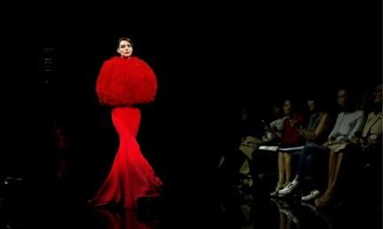 A model presents a creation by Italian designer Giorgio Armani