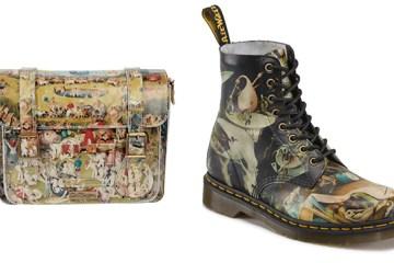 Left: Dr. Martens, 15″ Satchel. Right: Dr. Martens, Hell 8-eye boot.