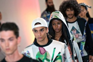 Models on the catwalk at the Andrea Crews Paris menswear fashion week show
