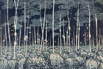 Evolutionary Landscape by Eve Stockton, Relief Print, Woodcut