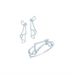 Tiffany diamond scarf earrings and bangle in platinum
