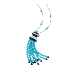 Tiffany turquoise and onyx tassel pendant with diamonds in platinum