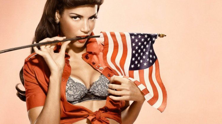 American-born supermodel Veronica Webb celebrates the US of A.