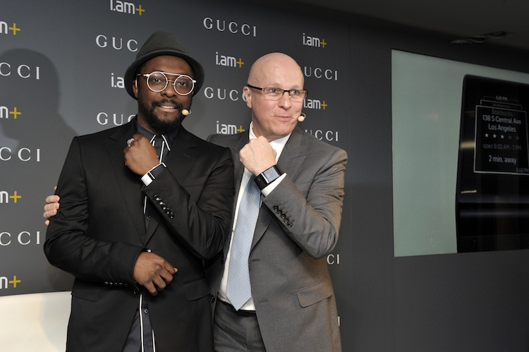 i.am+ Founder and CEO will.i.am and Gucci Timepieces President and CEO Stephane Linder pose during the Gucci Timepieces press