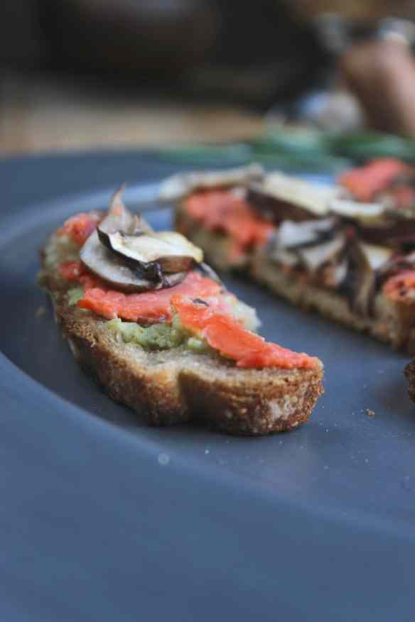 Salmon Mushroom Tartines with Basil Avocado Mayo