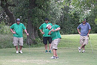 Dublin coaches tee off during a scramble raising funds for the Dublin Athletic Booster Club Friday at PAR Country Club. || BRAD KEITH/TheFlashToday.com
