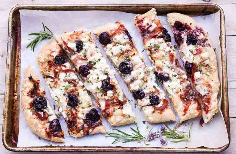 Pizza with Balsamic Cherries, Prosciutto, and Feta