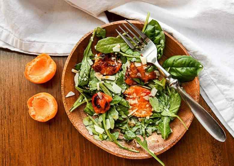 Grilled Apricot & Arugula Salad