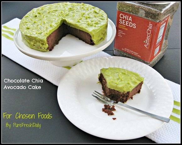 Chocolate Chia Cake with Avocado Frosting recipe by Pure Fresh Daily