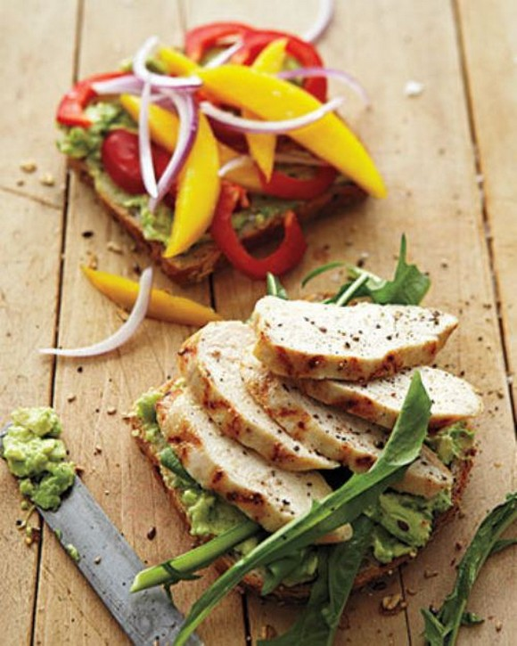 Grilled Chicken with Mango, Bell Pepper, and Avocado recipe by Whole Living