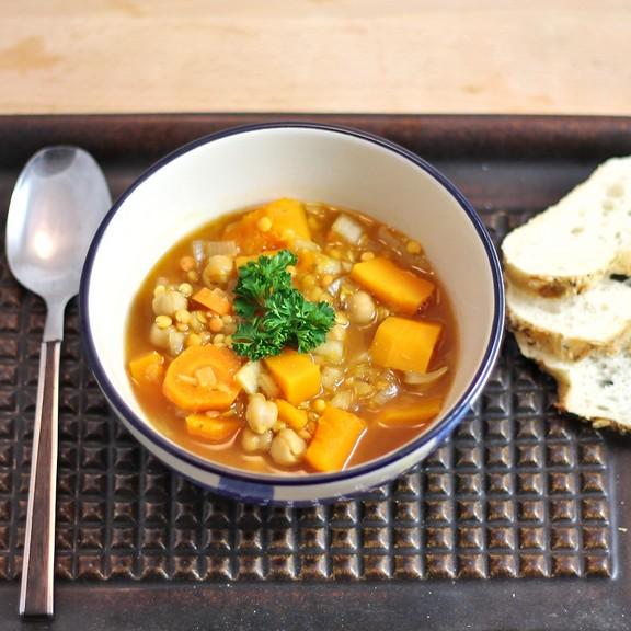 Crockpot Red Lentil Chickpea Squash Soup recipe photo