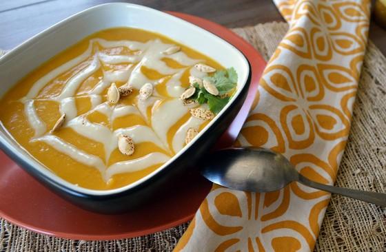 Halloween Chipotle Pumpkin Soup with Sweet Potato Cream recipe photo