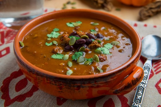 Pumpkin, Chorizo and Black Bean Soup recipe photo
