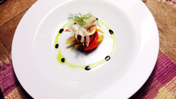 Salad of Black Mission Figs with Roasted Sweet Peppers and Shaved Fennel