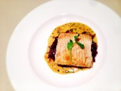 Spotted Skate Wing with Braised Red Cabbage and Mustard Sauce