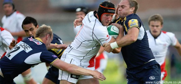 Stephen Ferris in Action for Ulster against Leeds.
