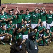 Ireland players celebrate their win over England in the 2012 JWC.