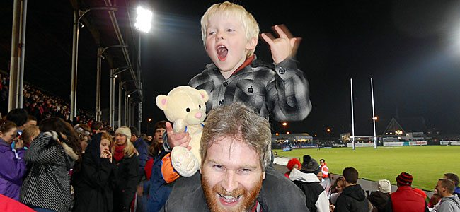 Matthew Keenan and Bob the Bear enjoy their night out at Ravenhill.