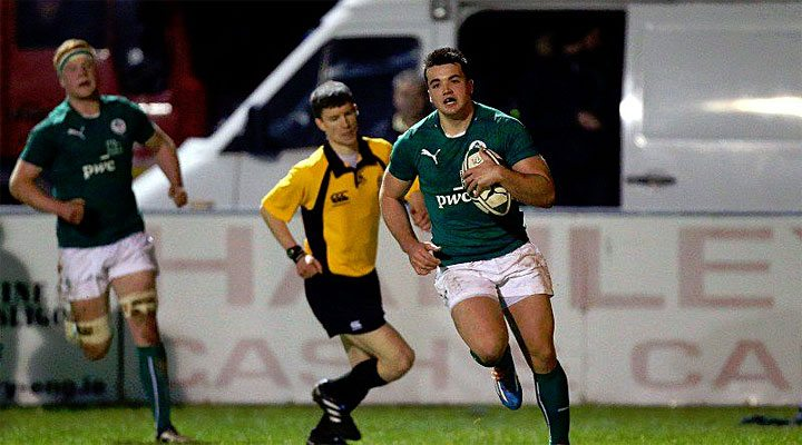 Cian Kelleher crosses for Ireland U20's opening try against Italy.