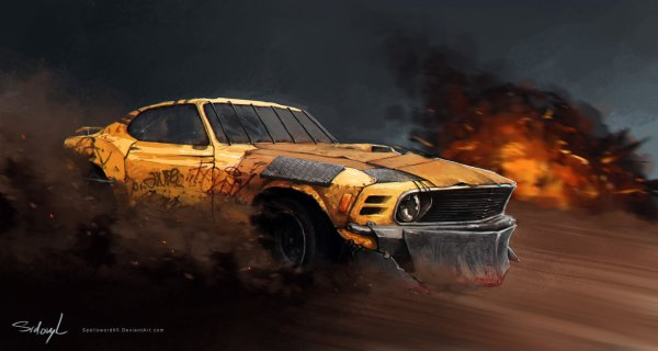 1970 ford mustang  mayhem  by spellsword95 d6lotb7 600x320 Artist to Watch | John Sidoryks Watercolor Styled Masterpieces