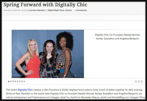 Digital Style Digest, Digitally Chic Co-Founders, April 2012