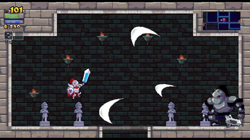 Rogue Legacy screenshot with castle - Cellar Door Games - remix bosses - nonlinear difficulty scaling