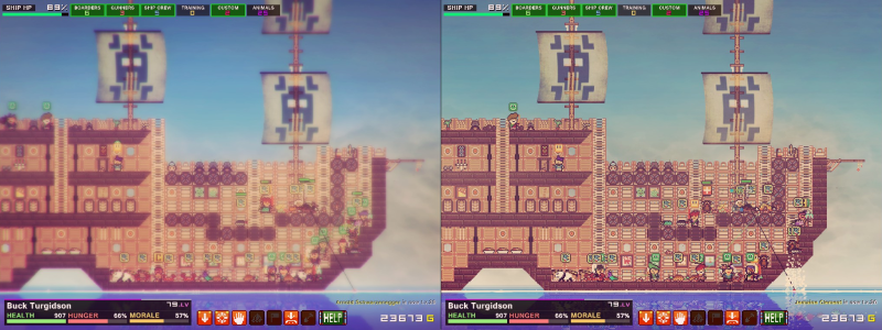 Pixel Piracy screenshot visual effects comparison - Quadro Delta - negative review - criticism