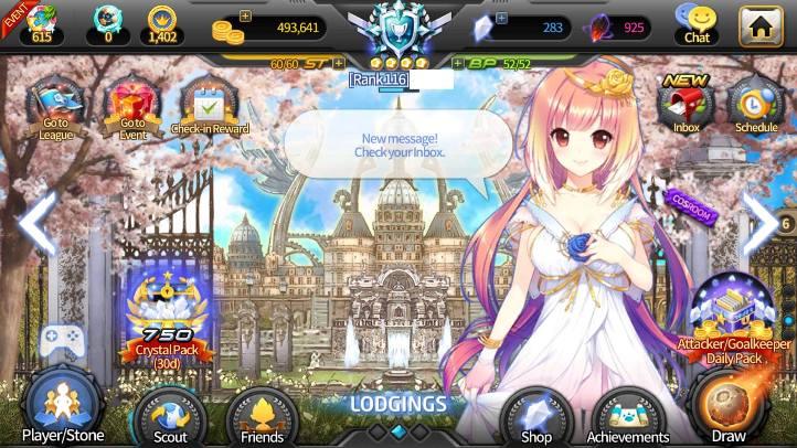 Soccer Spirits screenshot with menu - Big Ball Co., Ltd. - review