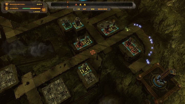 Defense Grid: The Awakening screenshot with mid-game challenge level - Hidden Path Entertainment - tower defense game