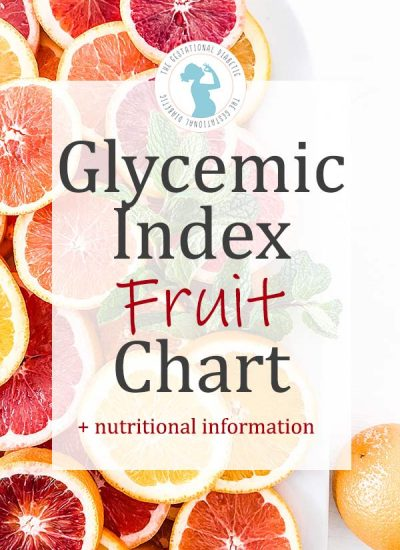 """cut citrus with overlay text """"glycemic index fruit chart + nutritional information"""""""