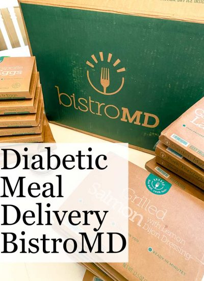 bistromd diabetic food delivery box and meals stacked on table