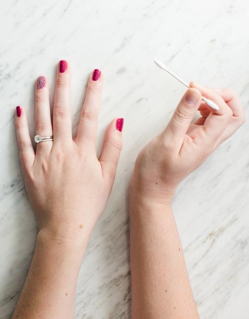 magenta nail polish + q-tips