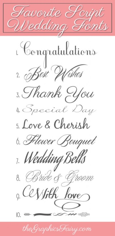 Favorite Script Wedding Fonts - The Graphics Fairy