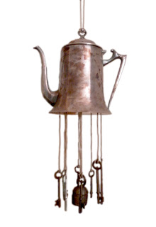 Teapot & old keys wind chime
