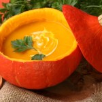 pumpkin soup in a pumpkin